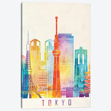 Tokyo Landmarks Watercolor Poster Canvas Print #PUR707} by Paul Rommer Canvas Artwork