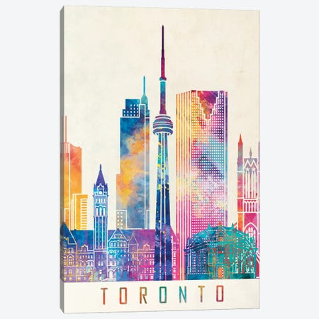 Toronto Landmarks Watercolor Poster Canvas Print #PUR708} by Paul Rommer Art Print