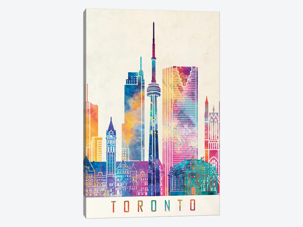 Toronto Landmarks Watercolor Poster by Paul Rommer 1-piece Canvas Wall Art