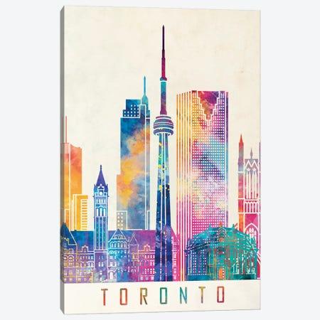 Toronto Landmarks Watercolor Poster Canvas Print #PUR708} by Paul Rommer Art Print