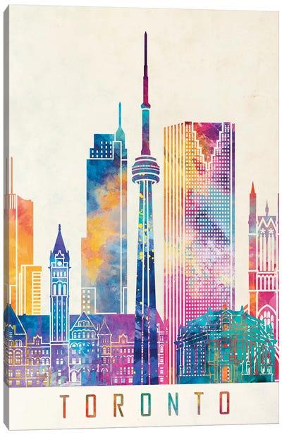 Toronto Landmarks Watercolor Poster Canvas Art Print