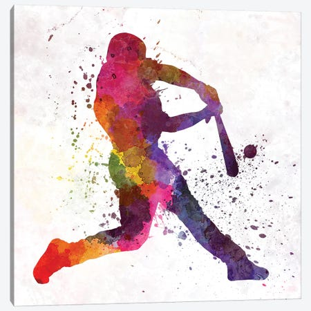 Baseball Player Hitting A Ball III Canvas Print #PUR70} by Paul Rommer Canvas Print