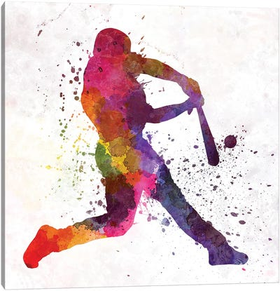 Baseball Player Hitting A Ball III Canvas Art Print