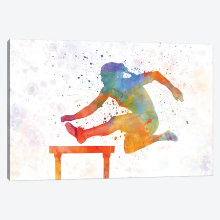 Track Hurdles Female Silhouette 01 Canvas Print #PUR711} by Paul Rommer Canvas Art