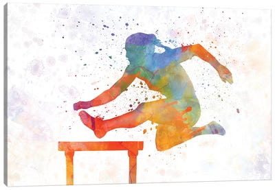 Track Hurdles Female Silhouette 01 Canvas Art Print