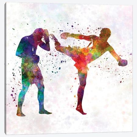 Two Men Exercising Thai Boxing Silhouette Canvas Print #PUR715} by Paul Rommer Canvas Print
