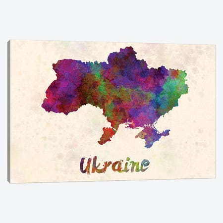 Ukraine In Watercolor Canvas Print #PUR717} by Paul Rommer Canvas Art Print