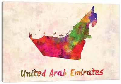 United Arab Emirates In Watercolor Canvas Art Print