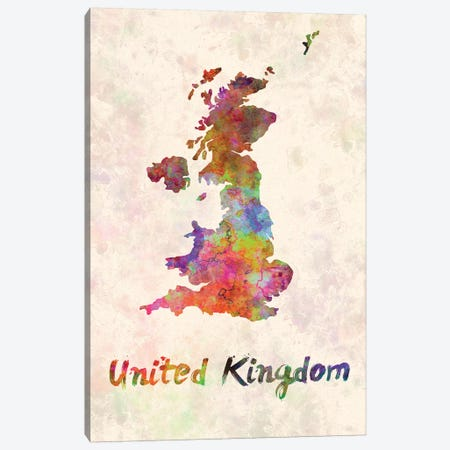 United Kingdom In Watercolor Canvas Print #PUR719} by Paul Rommer Canvas Wall Art