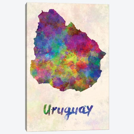 Uruguay In Watercolor Canvas Print #PUR720} by Paul Rommer Art Print
