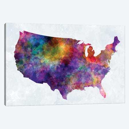 USA Map In Watercolor I Canvas Print #PUR722} by Paul Rommer Art Print