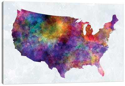 USA Map In Watercolor I Canvas Art Print