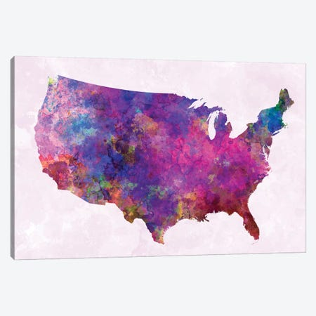 USA Map In Watercolor II Canvas Print #PUR723} by Paul Rommer Canvas Print