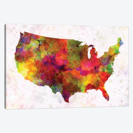 USA Map In Watercolor III Canvas Print #PUR724} by Paul Rommer Canvas Wall Art