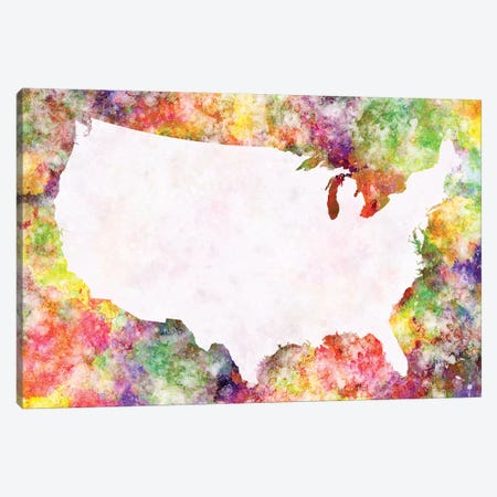 USA Map In Watercolor IV Canvas Print #PUR725} by Paul Rommer Canvas Wall Art
