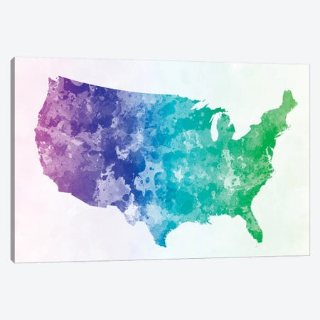 USA Map In Watercolor XIII Canvas Print #PUR726} by Paul Rommer Canvas Wall Art