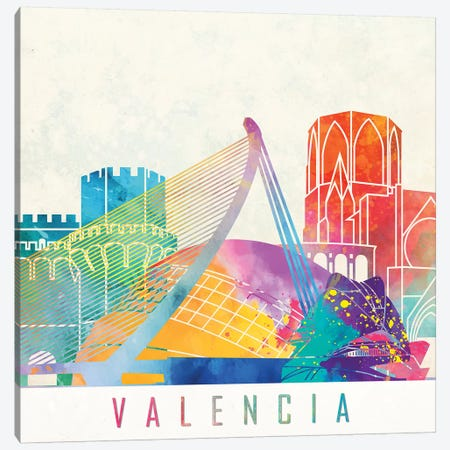Valencia Landmarks Watercolor Poster Canvas Print #PUR729} by Paul Rommer Canvas Art Print