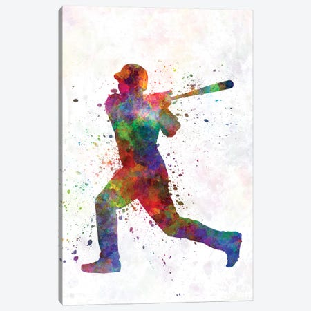Baseball Player Hitting A Ball V 3-Piece Canvas #PUR72} by Paul Rommer Canvas Art Print
