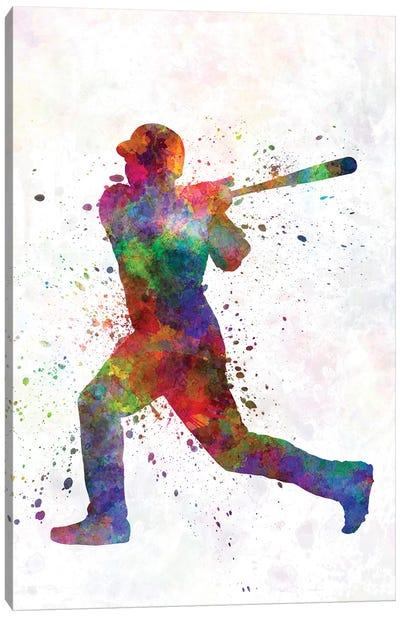 Baseball Player Hitting A Ball V Canvas Art Print
