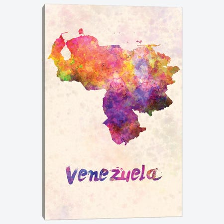 Venezuela In Watercolor Canvas Print #PUR730} by Paul Rommer Canvas Wall Art