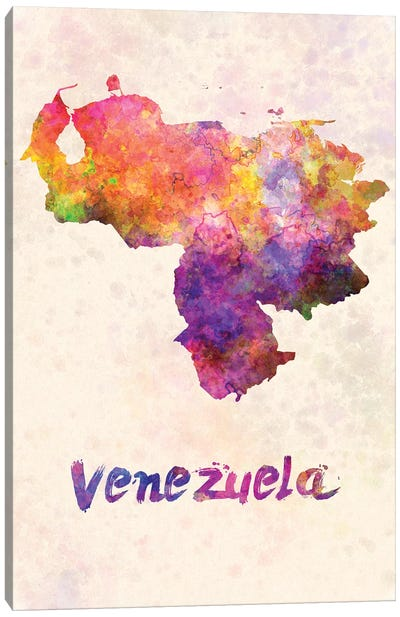 Venezuela In Watercolor Canvas Art Print