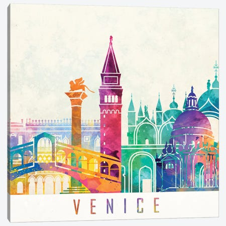 Venice Landmarks Watercolor Poster Canvas Print #PUR731} by Paul Rommer Canvas Art