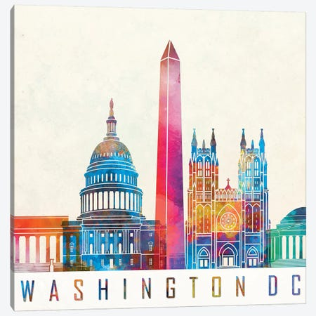 Washington Dc Landmarks Watercolor Poster Canvas Print #PUR738} by Paul Rommer Canvas Artwork