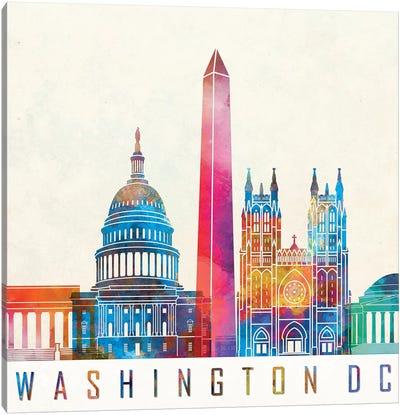 Washington Dc Landmarks Watercolor Poster Canvas Art Print