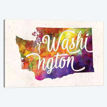 Washington US State In Watercolor Text Cut Out Canvas Print #PUR739} by Paul Rommer Canvas Wall Art