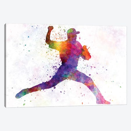 Baseball Player Pitching I Canvas Print #PUR73} by Paul Rommer Art Print