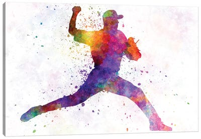 Baseball Player Pitching I Canvas Art Print