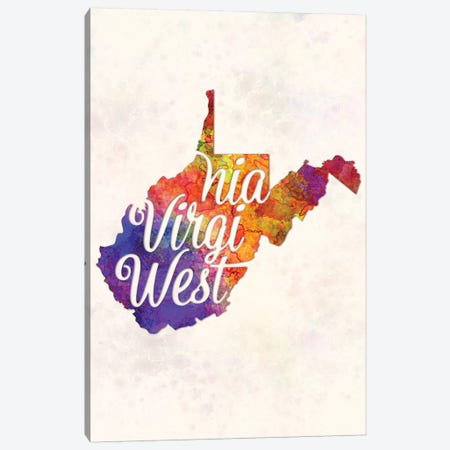 West Virginia US State In Watercolor Text Cut Out Canvas Print #PUR747} by Paul Rommer Canvas Wall Art