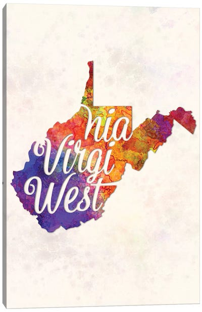 West Virginia US State In Watercolor Text Cut Out Canvas Art Print