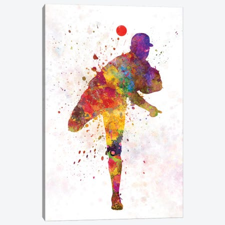 Baseball Player Pitching II Canvas Print #PUR74} by Paul Rommer Canvas Art