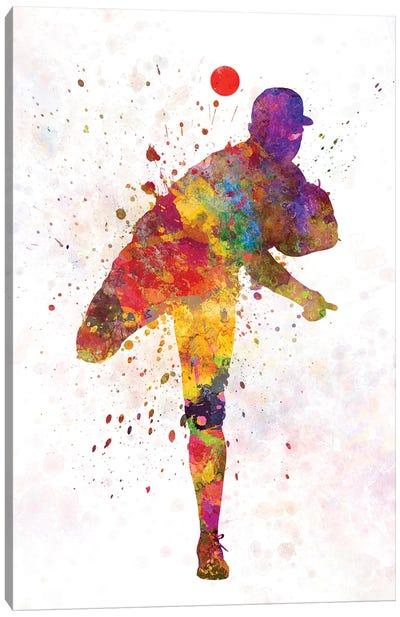 Baseball Player Pitching II Canvas Art Print