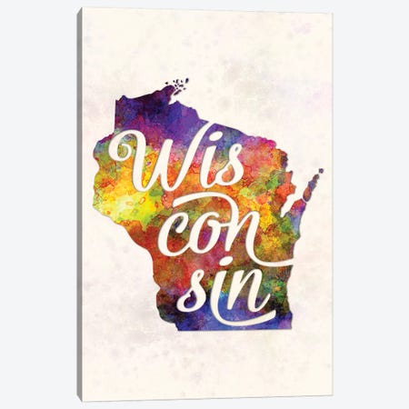 Wisconsin US State In Watercolor Text Cut Out Canvas Print #PUR753} by Paul Rommer Canvas Art
