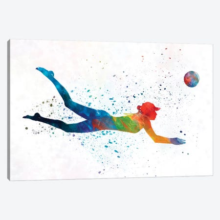 Woman Beach Volley Ball Player In Watercolor I Canvas Print #PUR764} by Paul Rommer Canvas Wall Art