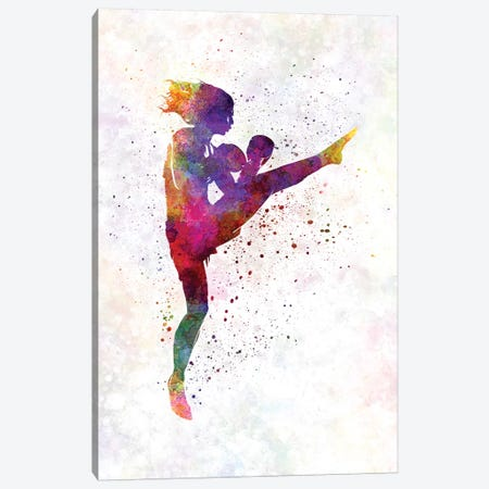 Woman Boxer Boxing Kickboxing Silhouette Isolated I Canvas Print #PUR766} by Paul Rommer Canvas Artwork
