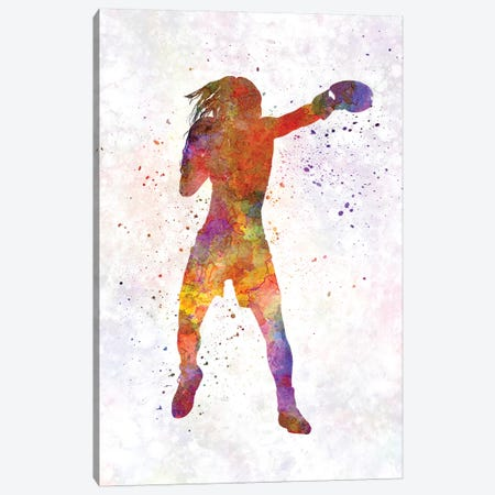 Woman Boxer Boxing Kickboxing Silhouette Isolated IIII Canvas Print #PUR768} by Paul Rommer Art Print