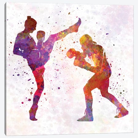 Woman Boxer Boxing Man Kickboxing Silhouette Isolated I Canvas Print #PUR769} by Paul Rommer Canvas Print