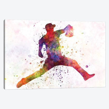 Baseball Player Pitching IV 3-Piece Canvas #PUR76} by Paul Rommer Canvas Artwork