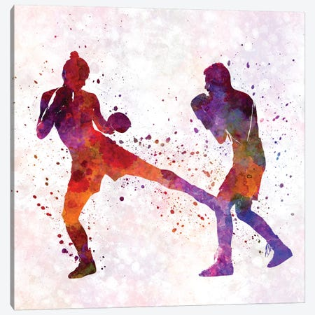 Woman Boxer Boxing Man Kickboxing Silhouette Isolated II Canvas Print #PUR770} by Paul Rommer Canvas Art