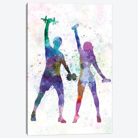 Woman And Man Exercising Canvas Print #PUR771} by Paul Rommer Canvas Art