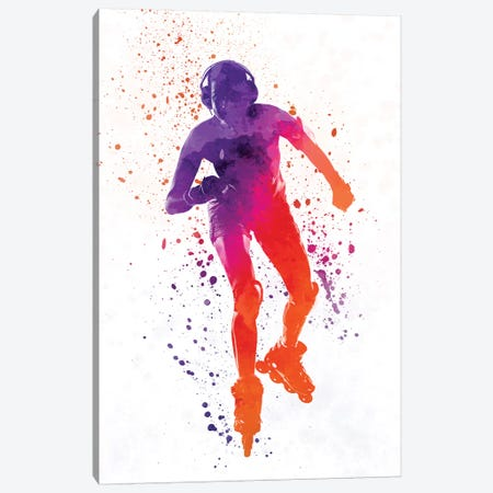 Woman In Roller Skates In Watercolor i Canvas Print #PUR772} by Paul Rommer Canvas Art