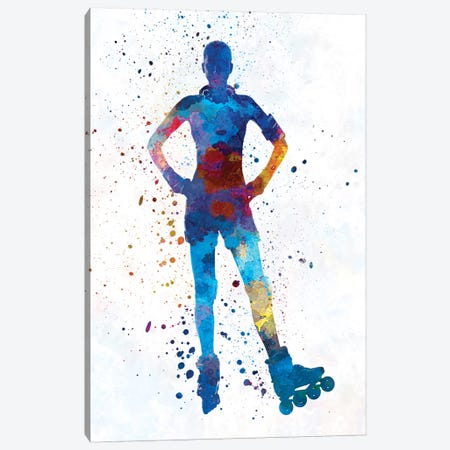 Woman In Roller Skates In Watercolor  II Canvas Print #PUR773} by Paul Rommer Canvas Wall Art