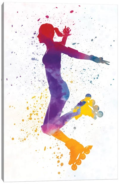 Woman In Roller Skates In Watercolor III Canvas Art Print