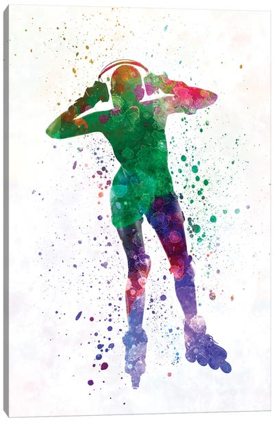 Woman In Roller Skates iIn Watercolor IV Canvas Art Print