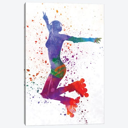 Woman In Roller Skates 05 In Watercolor Canvas Print #PUR776} by Paul Rommer Canvas Print