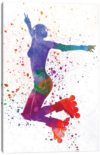 Woman In Roller Skates 05 In Watercolor Canvas Art Print