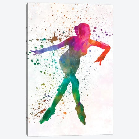 Woman In Roller Skates 08 In Watercolor Canvas Print #PUR779} by Paul Rommer Canvas Artwork